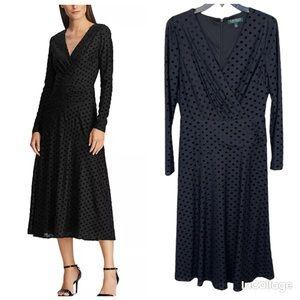NWT Ralph Lauren Black Velvet Fit-and-Flare Dress